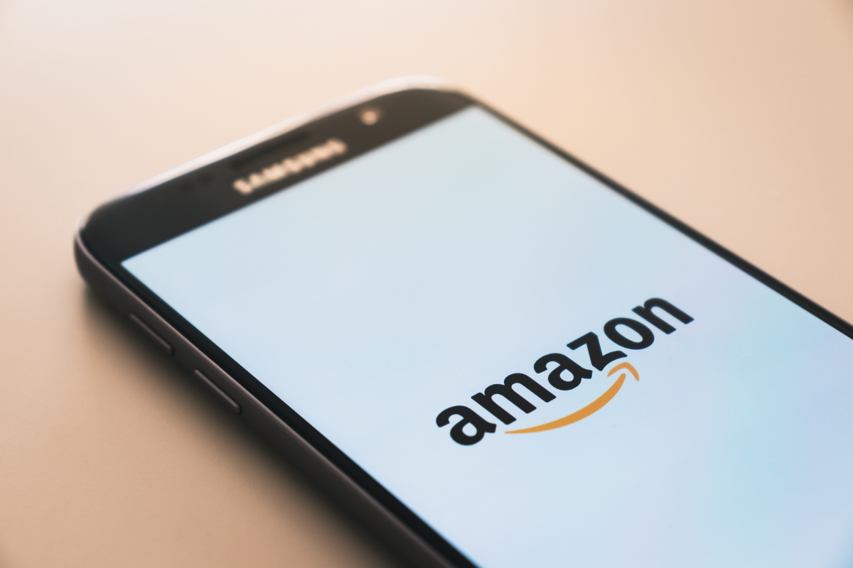 phone displaying Amazon logo one of the top ad platforms