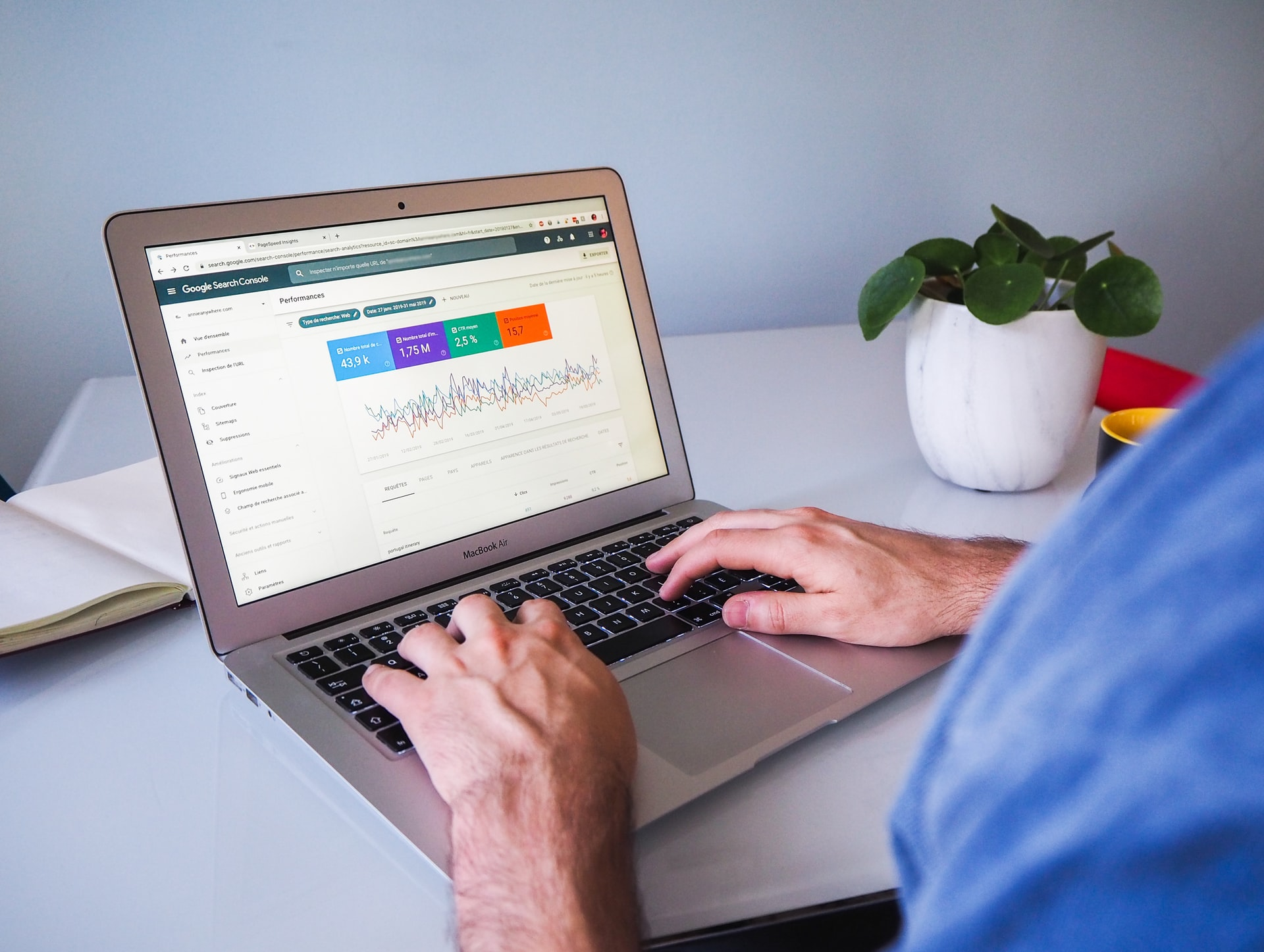 Man looking at Google stats after Google core update